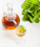 Herbal, mint homemade liquor. Russian traditional strong spirits Royalty Free Stock Image