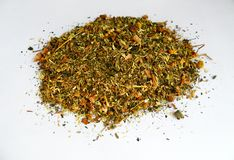 Herbal mixture on white background stock photo