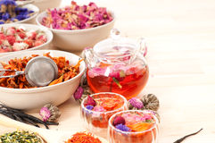 Herbal natural floral tea i. Nfusion with dry flowers ingredients Stock Photos