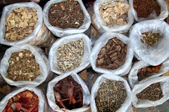 Herbal natural medicines vegetal herbs. In mexican market royalty free stock photography