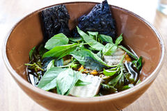 Herbal noodle,vegetarian thai noodle soup. Showing full picture of this menu Royalty Free Stock Image