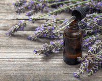 Herbal oil essence and dreied lavender flowers on wooden backgro Royalty Free Stock Images