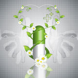 Herbal pill caduceus style Royalty Free Stock Photos