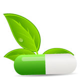Herbal pill icon.Environment background vector Royalty Free Stock Photography