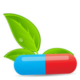 Herbal pill icon.Environment background vector Stock Image