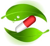 Herbal pills. Symbol of herbal pills alternative medicine stock illustration