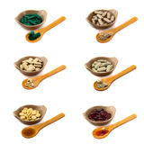 Herbal Pills Collection. A collection of herbal pills  on white background Royalty Free Stock Photo