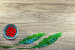 Herbal pills and tablets on a wooden background Royalty Free Stock Image