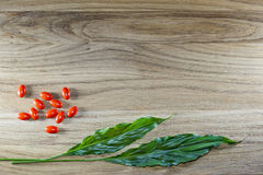 Herbal pills and tablets on a wooden background Royalty Free Stock Photo