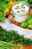 Herbal quark. Herbal curd with many fresh herbs Stock Images