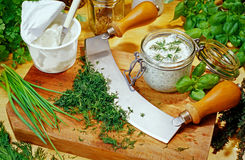 Herbal quark. Herbal curd with many fresh herbs Stock Image