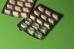 Herbal Remedy Pills in Blister Packs. Herbal Remedy capsules in Blister packs with some sections empty stock photo