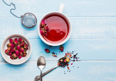 Herbal rose tea in a cup. Top view royalty free stock images