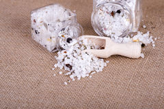 Herbal salt in containers Royalty Free Stock Image