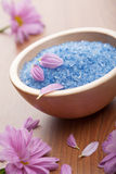 Herbal salt and flowers Stock Photography