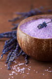 Herbal salt and lavender Royalty Free Stock Photo