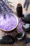Herbal salt lavender and spa stones Royalty Free Stock Photo