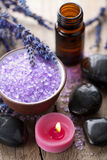 Herbal salt lavender and spa stones Royalty Free Stock Photos
