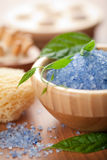 Herbal salt and leaves. spa and body care Royalty Free Stock Photo