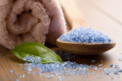 Herbal salt and towel Royalty Free Stock Photography