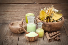 Herbal salt in the wooden bowl and herb Royalty Free Stock Photos