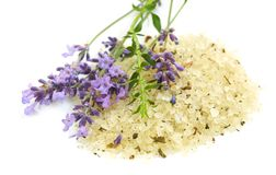 Herbal sea salt and lavender Royalty Free Stock Image