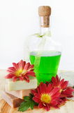 Herbal Shampoo and Soap with Flowers Royalty Free Stock Images