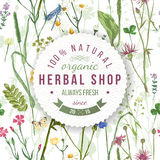 Herbal shop round emblem with herbs and flowers. Herbal shop round emblem over wild herbs and flowers pattern. Easy to use in your organic and eco friendly royalty free illustration