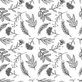 Herbal sketch, detox. Seamless pattern design royalty free illustration