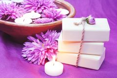 Herbal Soap, Aroma Bowl, Candles, Flowers. Spa Set Stock Photography