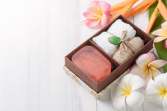 Herbal soap gift box on white wood background. Healthy care concept Stock Image