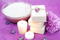 Herbal Soap, Salt, Candles and Flowers. Spa Set Royalty Free Stock Image