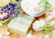 Herbal Soap, Salt and Lavender Spa Sti Stock Photo
