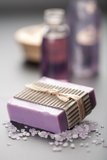 Herbal soap and salt. spa and body care background Royalty Free Stock Image