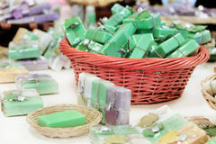 Herbal soaps in the shop Stock Photos
