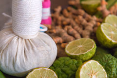 Herbal spa balls for treatment or massage with herb bergamot and. Ginger stock photo