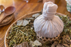 Herbal spa balls for treatment or massage with herb bergamot and. Ginger royalty free stock images