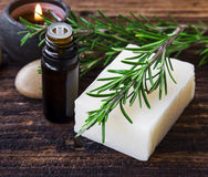 Herbal spa with rosemary soap Stock Image