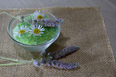 Herbal spa salt with fresh mint and camomile Stock Photography
