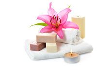 Herbal spa soap Royalty Free Stock Images