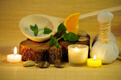 Herbal stamp candle light Stock Images