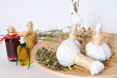 Herbal stamps massage. Erbal herbs stamps massage Wellness Royalty Free Stock Photos