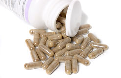 Herbal supplement capsules Royalty Free Stock Images