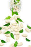 Herbal supplement pills and fresh leaves spilling. Out of bottle - alternative medicine concept royalty free stock image
