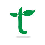 Herbal symbol for letter t. Minimalistic illustration of letter t blended with  leaf that can be used as logo symbol or as isolated design element Royalty Free Stock Photo