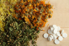 Herbal tablets Royalty Free Stock Photos