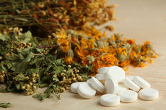 Herbal tablets Royalty Free Stock Image