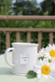 Herbal tea. A cup of herbal tea and yellow daisy flowers in the outdoors Stock Images