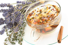 Herbal tea. On background with lavender and cinnamon stock image