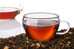 Herbal tea. Cup of herbal tea on white background stock photo